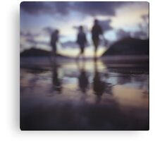 Silhouette of people walking on beach dusk sunset evening sky Hasselblad medium format film analogue photo Canvas Print