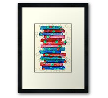Shape Shifting & Shadow Boxing - watercolor stripes & hexagon pattern Framed Print