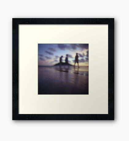 Chillout silhouette of people walking on beach dusk sunset evening sky Hasselblad medium format film analogue photo Framed Print