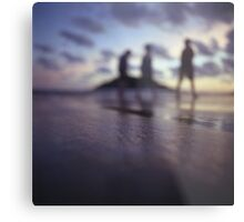 Chillout silhouette of people walking on beach dusk sunset evening sky Hasselblad medium format film analogue photo Metal Print
