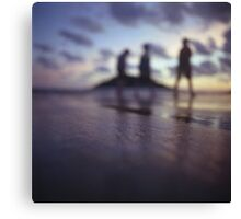 Chillout silhouette of people walking on beach dusk sunset evening sky Hasselblad medium format film analogue photo Canvas Print