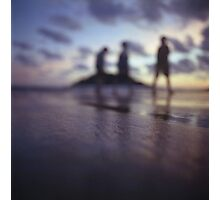 Chillout silhouette of people walking on beach dusk sunset evening sky Hasselblad medium format film analogue photo Photographic Print