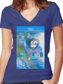 Peace on the Horizon Women's Fitted V-Neck T-Shirt