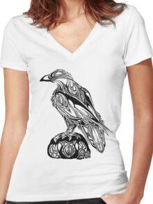 Tribal Raven Women's Fitted V-Neck T-Shirt