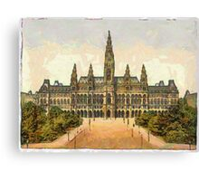 A digital painting of the City Hall in Vienna, Austria in the 19th century Canvas Print