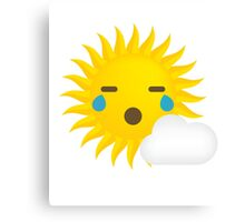 Sun Emoji Teary Eyes and Sad Look Canvas Print