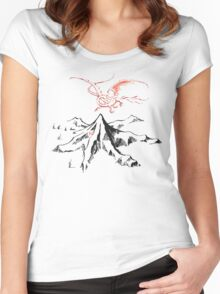 Red Dragon Above A Single Solitary Peak - Fan Art Women's Fitted Scoop T-Shirt