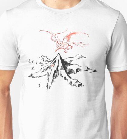 Red Dragon Above A Single Solitary Peak - Fan Art Unisex T-Shirt