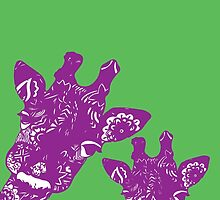 Purple and Green Giraffes by XENJA DESIGN