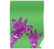 Purple and Green Giraffes Poster