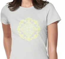 Pale Lemon Yellow Lace Mandala on Grey Womens Fitted T-Shirt