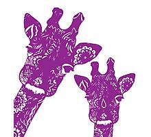 Purple Giraffes Photographic Print