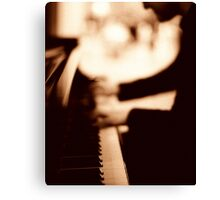 Pianist plays piano music in wedding marriage party silver gelatin black and white 35mm negative analog film sepia photo  Canvas Print