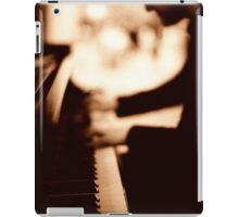 Pianist plays piano music in wedding marriage party silver gelatin black and white 35mm negative analog film sepia photo  iPad Case/Skin