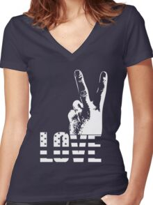 Love and Peace Women's Fitted V-Neck T-Shirt