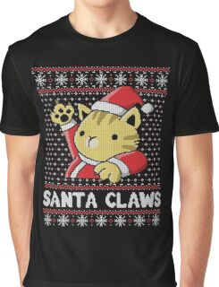 Cat Santa Claws Graphic T-Shirt