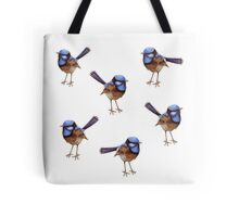 Blue Wrens, Russet and White Tote Bag