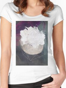 Abstract white volcano Women's Fitted Scoop T-Shirt