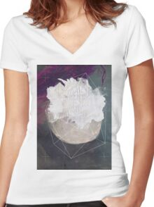 Abstract white volcano Women's Fitted V-Neck T-Shirt
