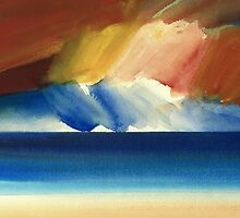 Watercolour painting To the sunset, Ross sands beach by Timothy Gent