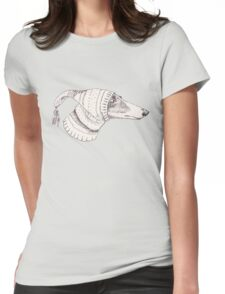Winter Whippet  Womens Fitted T-Shirt