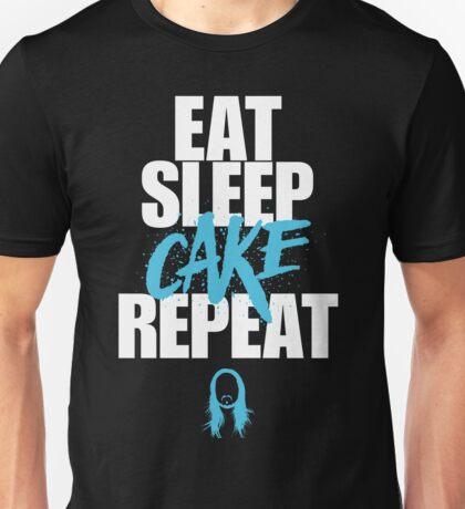 Steve Aoki - eat sleep cake repeat - Blue - Black white Unisex T-Shirt