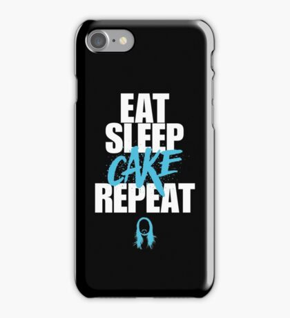 Steve Aoki - eat sleep cake repeat - Blue - Black white iPhone Case/Skin