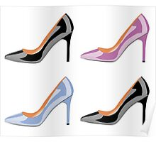 High heel shoes in black,serenity blue and bodacious pink Poster