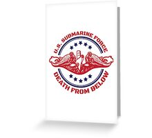 Cool Red, White and Blue U.S. Submarine Force Death from Below T-Shirt Greeting Card
