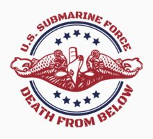 Cool Red, White and Blue U.S. Submarine Force Death from Below T-Shirt by Albany Retro