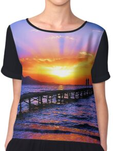 Sunset in the beach Chiffon Top