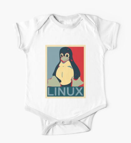 Tux Linux Hope Poster Parody Design for Free Software Geeks One Piece - Short Sleeve