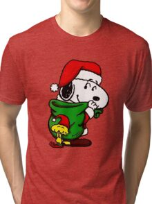Santa Snoopy Beautiful christmas Tri-blend T-Shirt