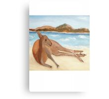 Kanga - In Australia Every Day's A Beach Day (White writing for Dark T's) Canvas Print