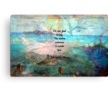 Rumi Inspiration Quote About The Universe With Beautiful Ocean Art Canvas Print