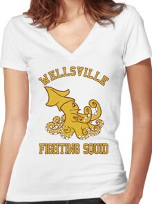 Wellsville Fighting Squid (Pete and Pete/Notre Dame parody) Women's Fitted V-Neck T-Shirt