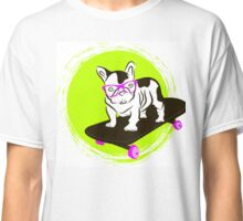French Bulldog in glasses on a skateboard Classic T-Shirt