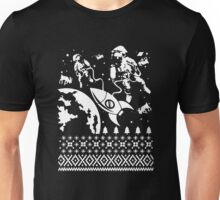Mens Astronaut In Outer Space Saving Reindeer Funny Unisex T-Shirt