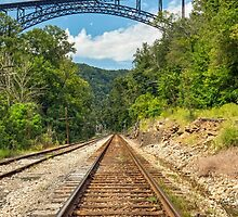 Railroad and Big Bridge by Kenneth Keifer