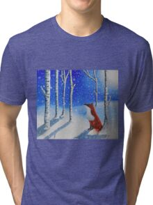 Fox In The Snowy Woods Tri-blend T-Shirt