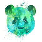 Watercolor Panda Head Painting by Thubakabra