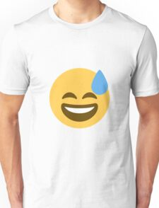 Smiling face with open mouth and cold sweat Unisex T-Shirt