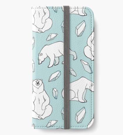 Polar bears on blue iPhone Wallet/Case/Skin