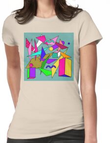 Geometric pattern in memphis 80s style Womens Fitted T-Shirt