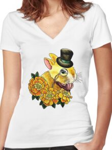 Top Hat Bunny Women's Fitted V-Neck T-Shirt