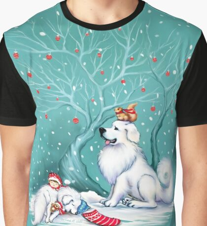 Great Pyrenees Christmas - Waiting for Santa Graphic T-Shirt