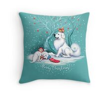 Great Pyrenees Christmas - Waiting for Santa Throw Pillow