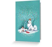 Great Pyrenees Christmas - Waiting for Santa Greeting Card