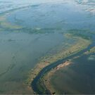 Flooded Cambodian countryside aerial by stuwdamdorp