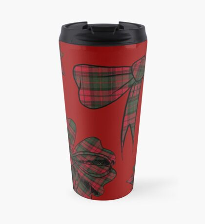 Holiday Bows (red/white) Travel Mug